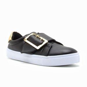 Shoes - Black Buckle Sneakers
